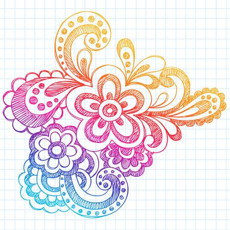 Hand Drawn schetsmatig Abstract Paisley Henna (Mehndi) stijl notebook doodle op U:lined Notebook papier achtergrond illustratie