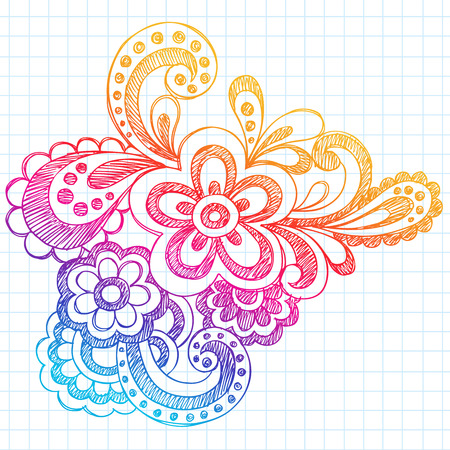 Hand-Drawn Sketchy Abstract Paisley Henna (Mehndi) Style Notebook Doodle on Lined Notebook Paper Background Illustration