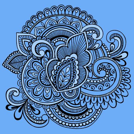 손으로 그린 복잡 한 헤나 문신 페이 즐 리 파란색 배경에 추상 낙서 그림