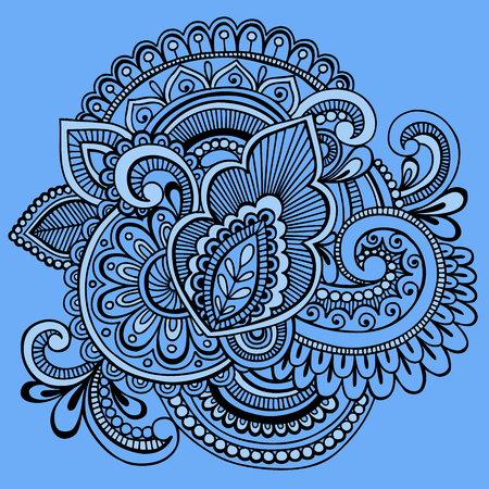 Hand-Drawn Intricate Henna Tattoo Paisley Abstract Doodle Illustration on Blue Background