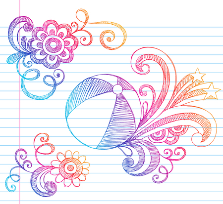 notebook paper background: Hand-Drawn Beach Ball Summer Vacation Notebook Doodles Illustration on Lined Sketchbook Paper Background