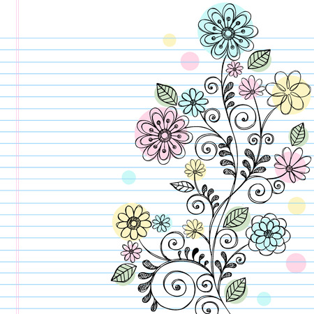 Hand-Drawn Flowers, Leaves, and Swirls Sketchy Notebook Doodles Illustration on Lined Sketchbook Paper Background