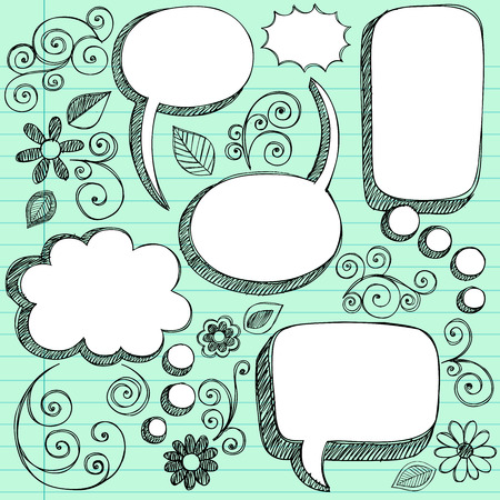 Doodles on Green Lined Paper Background - Illustration