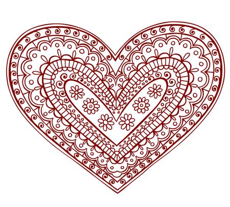 Hand-Drawn Heart Henna (mehndi) Paisley Doodle Illustration Design Element Vettoriali