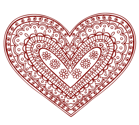Hand-Drawn Heart Henna (mehndi) Paisley Doodle Illustration Design Element Illustration