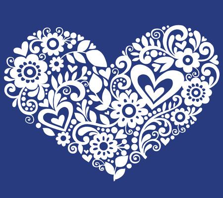 Hand getekende bloemen, bladeren en wervelingen in de vorm van een hart - illustratie op blauwe achtergrond Stock Illustratie