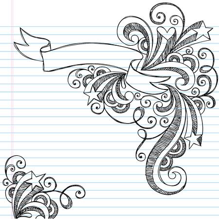 星とまんじ - イラスト背景に並ぶスケッチ用紙に手描きのスクロール バナー大ざっぱなノートの落書き