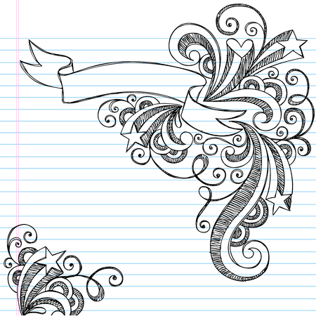 Hand-Drawn Scroll Banner Sketchy Notebook Doodles with Stars and Swirls - Illustration on Lined Sketchbook Paper Background Vettoriali