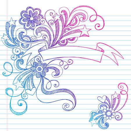 まんじ - 並べられたスケッチ ブック用紙の背景の図心と花、星、手描きのスクロール バナー大ざっぱなノート ホリデーロゴ