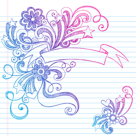 doodle art: Hand-Drawn Scroll Banner Sketchy Notebook Doodles with Hearts, Flowers, Stars, and Swirls - Illustration on Lined Sketchbook Paper Background