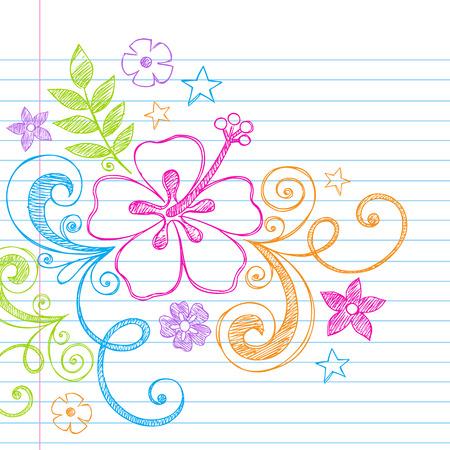 Hand-getekend tropische hibiscus bloem en Swirls Zomers Beach schetsmatig notebook doodles illustratie op U:lined Sketchbook boek achtergrond