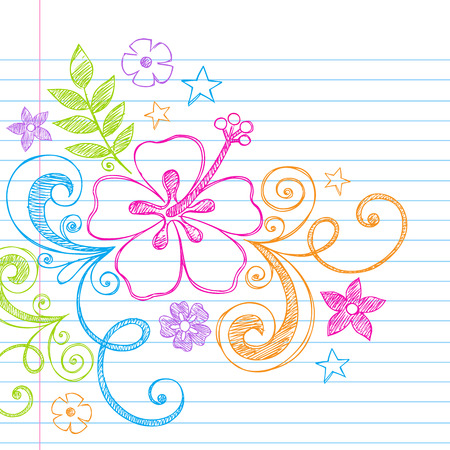 Hand-Drawn Tropical Hibiscus Flower and Swirls Summer Beach Sketchy Notebook Doodles Illustration on Lined Sketchbook Paper Background
