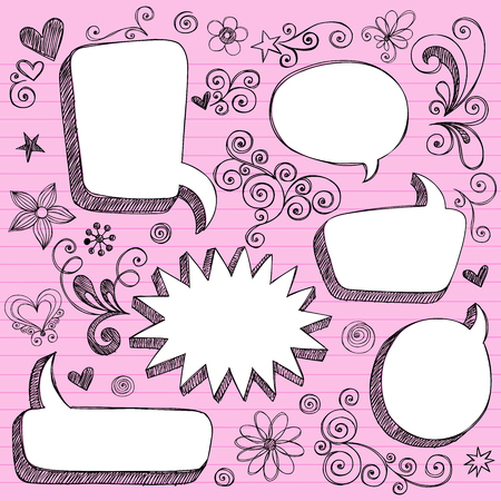 scribble:  Hand-Drawn Sketchy 3-D Shaped Comic Book Style Speech Bubble Frames- Notebook Doodles on Lined Paper Background - Illustration