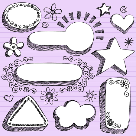 Hand-Drawn Sketchy 3-D Shaped Frames Notebook Doodles on Purple Lined Paper Background - Illustration Ilustração