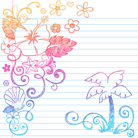 Hand-Drawn Tropical Hibiscus Flowers, Shells, &amp, Palm Tree Summer Beach Sketchy Notebook Doodles Illustration on Lined Sketchbook Paper Background Vector
