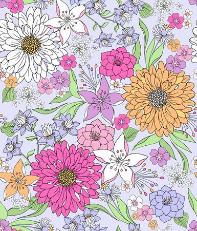 멋진 식물 - 섬세한 봄 꽃 - 일러스트 레이션의 손으로 그린 원활한 반복 패턴 일러스트