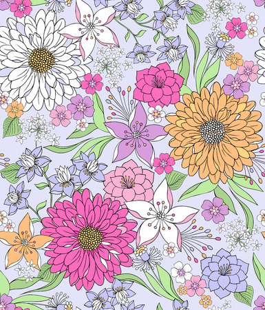 gentle: Hand-Drawn Seamless Repeat Pattern of Fabulous Flora - Delicate Springtime Flowers - Illustration Wallpaper Illustration