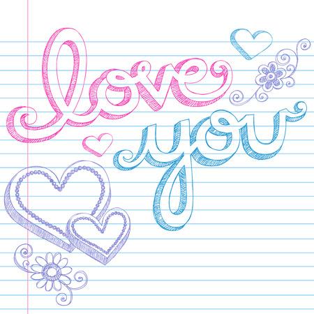 大ざっぱなノートのレタリングそして 3 D のハートの形をいたずら書き手描きバレンタインデー愛並んで紙図