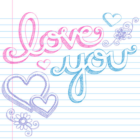Hand-Drawn Valentine's Day Love You Sketchy Notebook Doodles Lettering and 3D Heart Shapes on Lined Paper Illustration