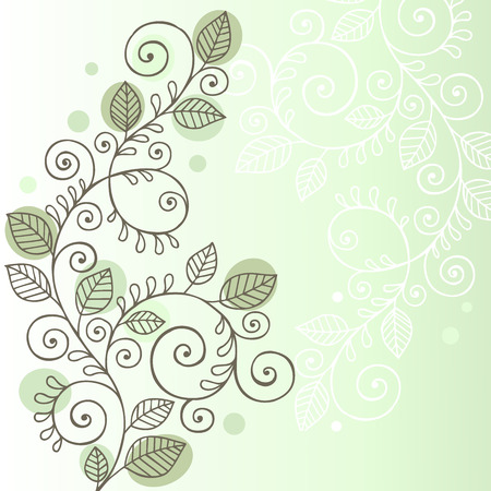 Hand-Drawn Organic Doodle Swirling Vines and Leaves Design Element - Illustration