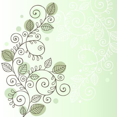 Main-Drawn Doodle biologique tout en remuant, vignes et éléments de conception de feuilles - illustration
