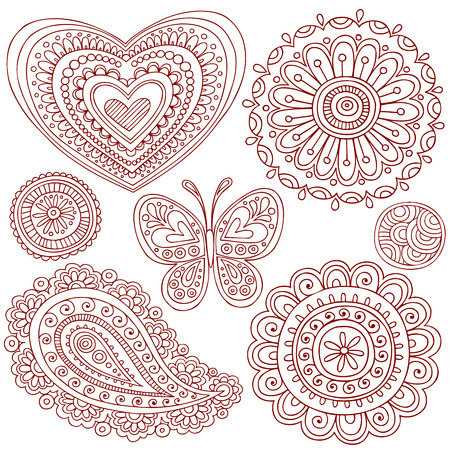 Hand-Drawn Henna (mehndi) Heart, Flower, Butterfly, and Paisley Doodle Illustration Design Elements Vector
