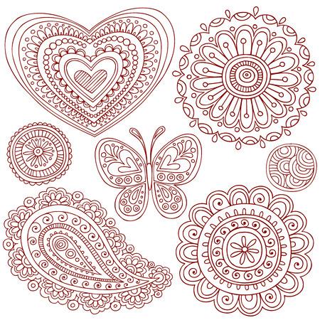 henna design: Mano-Drawn Henna (mehndi) coraz�n, flor, Butterfly y elementos de dise�o de ilustraci�n Doodle de Paisley