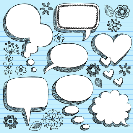 notepaper: Hand-Drawn Sketchy 3-D Shaped Comic Book Style Speech Bubbles- Notebook Doodles on Blue Lined Paper Background - Illustration Illustration