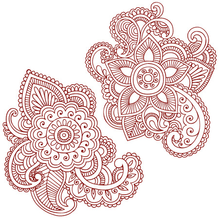 Hand-Drawn Abstract Henna (mehndi) Paisley Doodle Illustration Design Elements