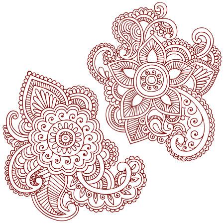 henna design: Mano-Drawn Abstract Henna (mehndi) elementos de dise�o de ilustraci�n Doodle de Paisley Vectores