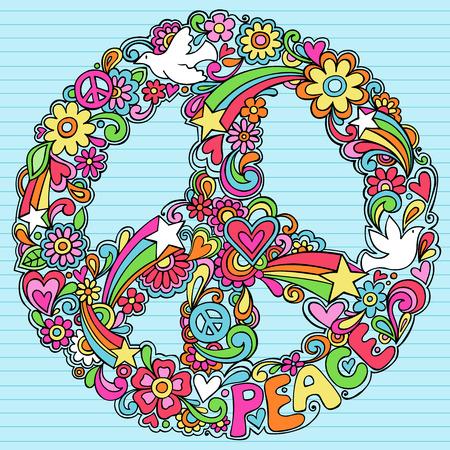 Mano-Drawn Psychedelic Groovy signo de paz y portátil de Dove garabatos en el libro de Sketchbook arbolada antecedentes - ilustración