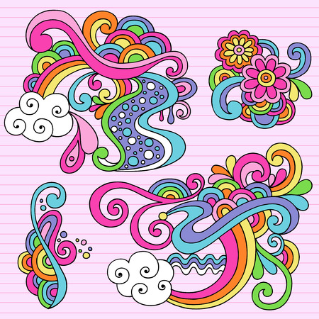 Hand-Drawn Psychedelic Abstract Notebook Doodles Design Elements on Lined Sketchbook Paper Background - Illustration Illustration