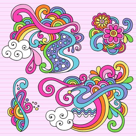 Hand-getekend psychedelische abstracte Notebook Doodles ontwerpelementen op bekleed Sketchbook papier achtergrond - afbeelding Stock Illustratie