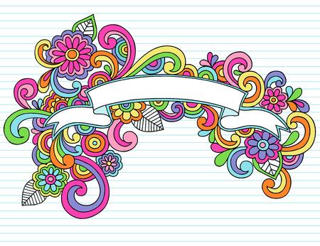 Hand-Drawn Psychedelic Banner / Scroll Notebook Doodle Design Element on Lined Sketchbook Paper Background - Illustration Vetores