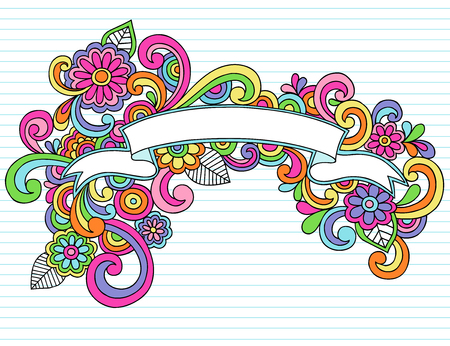 Hand-Drawn Psychedelic Banner / Scroll Notebook Doodle Design Element on Lined Sketchbook Paper Background - Illustration Vettoriali