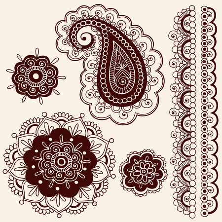 Hand-Drawn Intricate Mehndi Henna Tattoo Paisley Doodle - Illustration