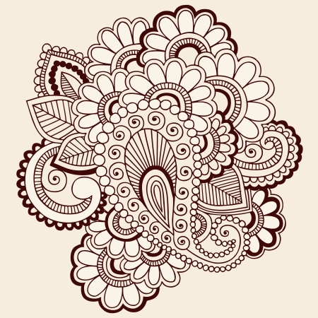 Hand-Drawn Intricate Abstract Flowers Mehndi Henna Tattoo Paisley Doodle Illustration