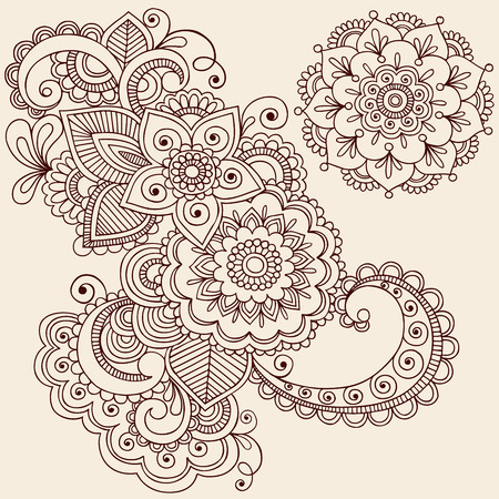Hand-Drawn Intricate Abstract Flowers and Mandala Mehndi Henna Tattoo Paisley Doodle - Illustration