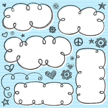carta da lettere: Bubble Doodle riquadri - Notebook Doodles sul Libro blu foderato background-illustrazione a forma di mano creati Sketchy Cloud  Vettoriali