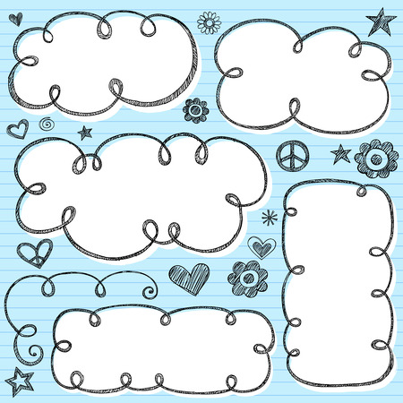 Hand-Drawn Sketchy Cloud Shaped Bubble Doodle Frames- Notebook Doodles on Blue Lined Paper Background- Illustration
