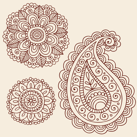 Hand-Drawn Henna Mehndi Tattoo Flowers and Paisley Doodle  Illustration Design Elements Vector