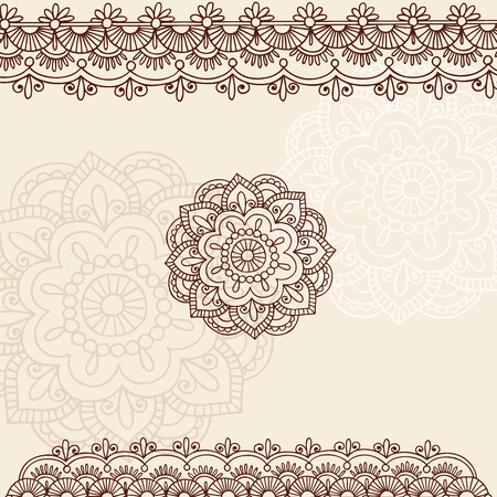 Hand-Drawn Henna Mehndi Tattoo Flowers and Paisley Border Doodle Illustration Design Elements Vector