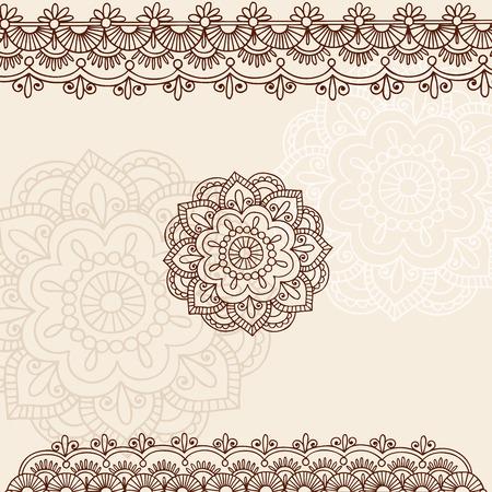 henna design: Mano-Drawn flores de Mehndi tatuaje de Henna y elementos de dise�o de ilustraci�n de frontera de Paisley Doodle
