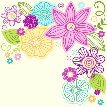 손으로 그린 다채로운 꽃 낙서 그림 일러스트
