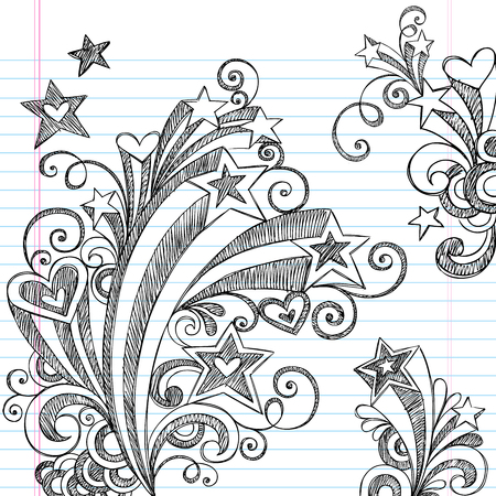 Back to School Starbursts, Swirls, Hearts, and Stars Sketchy Notebook Doodles Vector Illustration Design Elements on Lined Sketchbook Paper Background