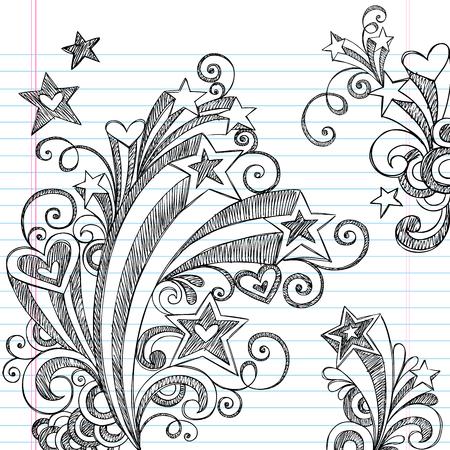 Back to School Starbursts, Swirls, Hearts, and Stars Sketchy Notebook Doodles Vector Illustration Design Elements on Lined Sketchbook Paper Background