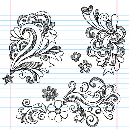 Hand-Drawn Back to School Hearts, Swirls, Flowers, and Stars Sketchy Notebook Doodles Vector Illustration Design Elements on Lined Sketchbook Paper Background Vettoriali