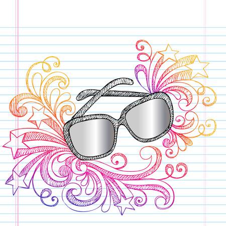 eyewear glasses: Sunglasses Summer Vacation Sketchy Notebook Doodles Vector Illustration on Lined Sketchbook Paper Background