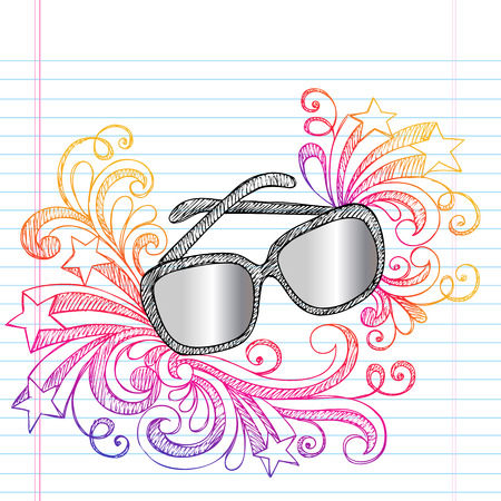 eyewear: Sunglasses Summer Vacation Sketchy Notebook Doodles Vector Illustration on Lined Sketchbook Paper Background