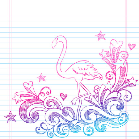 fenicottero rosa: Summer Vacation Pink Flamingo e turbinii Sketchy Notebook Illustrazione Vettoriale Doodles su sfondo Sketchbook foderato di carta